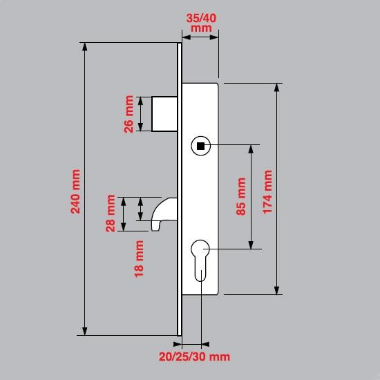 CERRADURA DE EMBUTIR CON GANCHO TOVER M10 CILINDRO 2F5 ACERO INOXIDABLE
