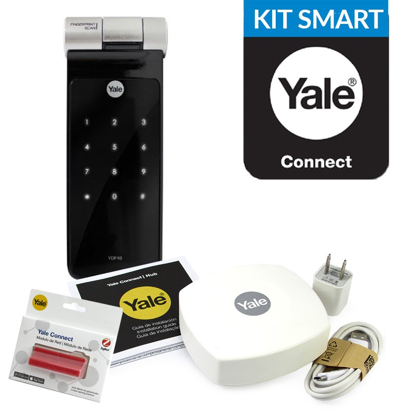 CERROJO DIGITAL YALE YDF40 BIOMETRICA HUELLA + HUB YALE SMARTCONNECT