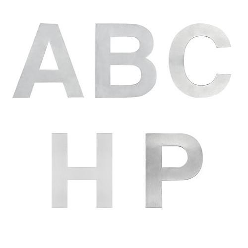"LETRAS DECORATIVAS METÁLICAS 10CMS. (""A B C H P"") ACERO INOXIDABLE"